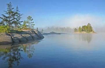 Morning Fog on Island Lake